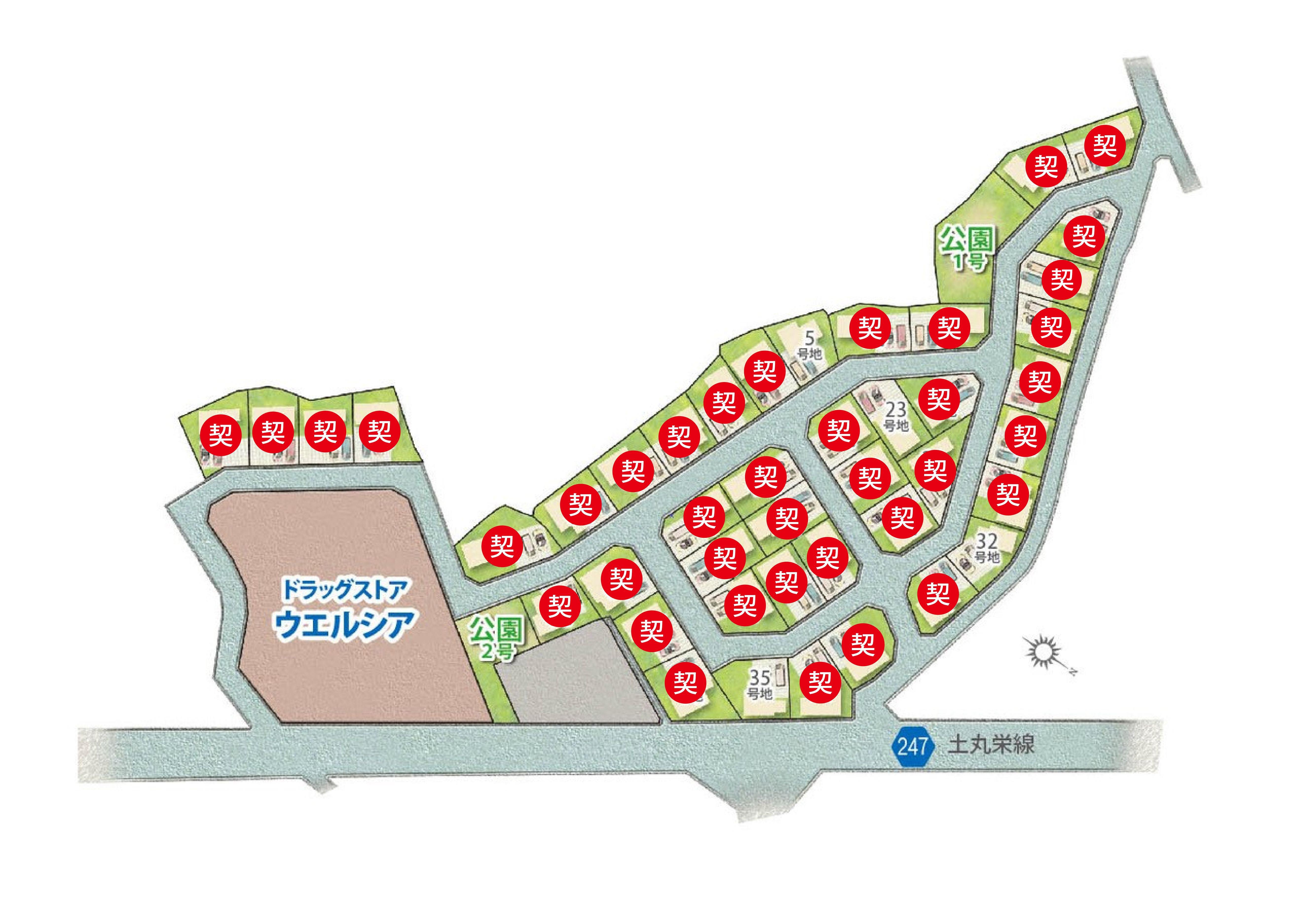 プレミアムガーデン羽倉崎区画図