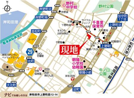 プレミアムガ-デン上野町西の地図